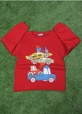 Sanaulla Exclusive Range  Fancy T-Shirt for Boys -  SU20BS 79 Red