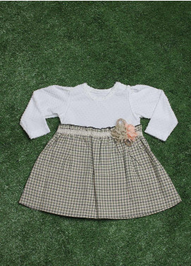Sanaulla Exclusive Range  Fancy Frocks for Girls -  229216 White-Green