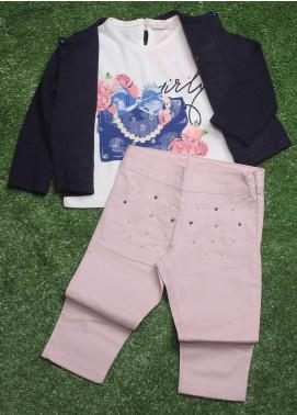 Sanaulla Exclusive Range  Fancy 3 Piece Suit for Girls -  2957 N-Blue