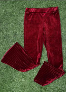 Sanaulla Exclusive Range Fancy Velvet Stitched Tights 3013 Maroon