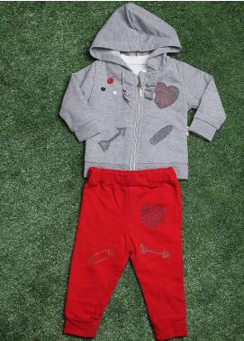 Sanaulla Exclusive Range  Fancy 3 Piece Suit for Girls -  5081 Grey