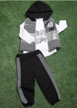 Sanaulla Exclusive Range  Fancy Girls 3 Piece Suit -  90145 White