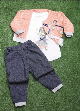 Sanaulla Exclusive Range  Fancy 3 Piece Suit for Girls -  90157 Pink-A