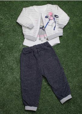 Sanaulla Exclusive Range  Fancy Girls 3 Piece Suit -  90157 White