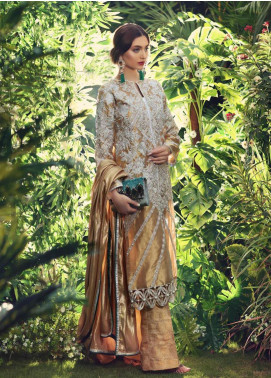 Sanaz by Sable Vogue Embroidered Tissue Silk Unstitched 3 Piece Suit SSV19W 02 - Wedding Collection