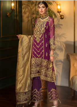 Sangeet by Mohagni Embroidered Chiffon Unstitched 3 Piece Suit SMO20C 02 - Luxury Collection