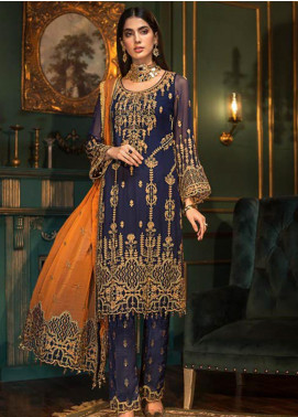 Sangeet by Mohagni Embroidered Chiffon Unstitched 3 Piece Suit SMO20C 04 - Luxury Collection