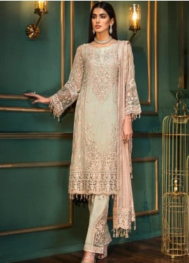 Sangeet by Mohagni Embroidered Chiffon Unstitched 3 Piece Suit SMO20C 07 - Luxury Collection