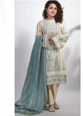 Sapphire Embroidered Dobby Unstitched 2 Piece Suit SP20L Ivory Sparkle - Spring / Summer Collection