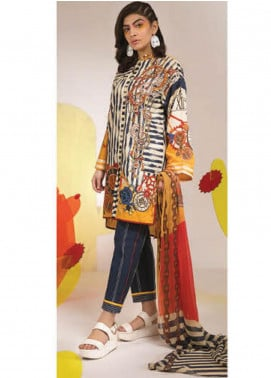 Sapphire Embroidered Lawn Unstitched 2 Piece Suit SP20L Surreal Blue - Spring / Summer Collection