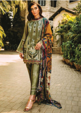 Sapphire Embroidered Khaadi Net Unstitched 3 Piece Suit SP20L Weathered Pebble - Spring / Summer Collection