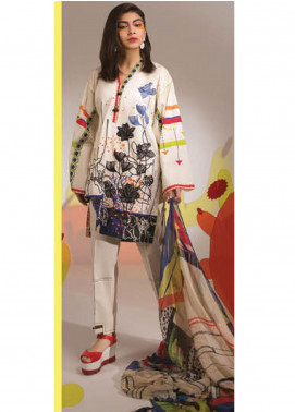 Sapphire Embroidered Lawn Unstitched 3 Piece Suit SP20L Whispy White - Spring / Summer Collection