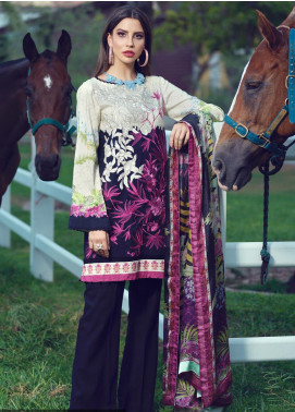 Sarang Embroidered Viscose Unstitched 3 Piece Suit SG19W GRAPHITE - Winter Collection