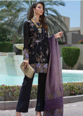 Sarang Embroidered Chiffon Unstitched 3 Piece Suit SIT19F 2 DARK ROMANCE - Festive Collection