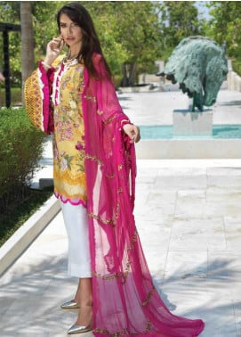 Sarang Embroidered Chiffon Unstitched 3 Piece Suit SIT19F 4 WILD ROSE - Festive Collection