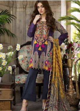Satin Stitch Embroidered Lawn Unstitched 3 Piece Suit SS19E 06 - Eid Collection