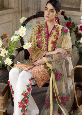 Satin Stitch Embroidered Lawn Unstitched 3 Piece Suit SS19E 08 - Eid Collection
