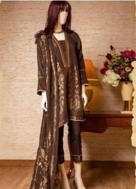Saya Embroidered Jacquard Unstitched 3 Piece Suit SY19E 1B - Festive Collection