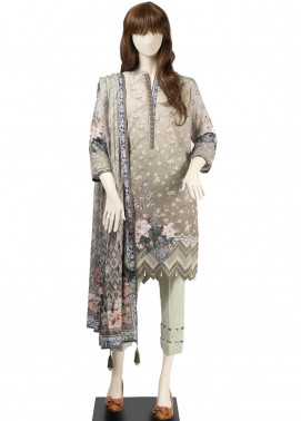 Saya Embroidered Cambric Unstitched 3 Piece Suit SY19CB SOPHIE 10B - Premium Collection