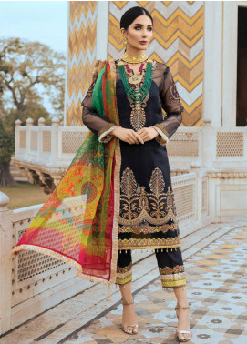 Sanaya Embroidered Organza Unstitched 3 Piece Suit SN20SC 4 - Luxury Collection