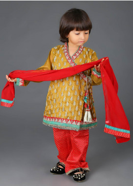 Senorita Cotton Net Fancy 3 Piece Suit for Girls -  KDD-01135-G0LD-MAROON