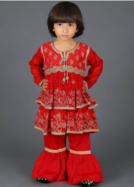 Senorita Cotton Net Fancy 3 Piece Suit for Girls -  KDD-00990-RED