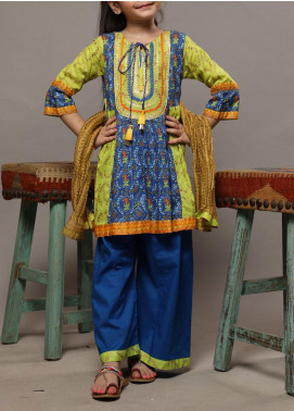 Senorita Lawn Casual 3 Piece Suit for Girls -  KBD-01559 BLUE