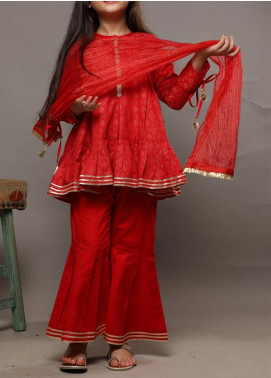 Senorita Cotton Casual 3 Piece Suit for Girls -  KBD-01582 RED