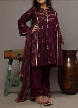 Senorita Cotton Casual Girls 3 Piece Suit -  KBD-01610 PURPLE