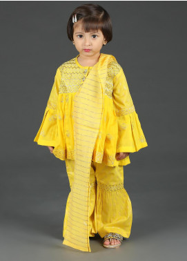 Senorita Cotton Net Fancy 3 Piece Suit for Girls -  KBD-01268 Yellow