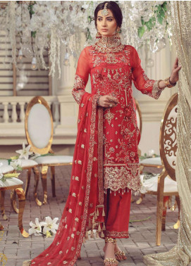 Serene Premium Embroidered Chiffon Unstitched 3 Piece Suit SMP20BL 1006 - Luxury Collection