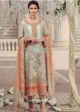 Serene Premium Embroidered Chiffon Unstitched 3 Piece Suit SMP20BL 1009 - Luxury Collection