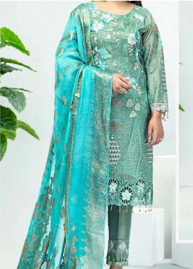Serene Premium Embroidered Zari Net Unstitched 3 Piece Suit SPM20E 18 - Luxury Collection