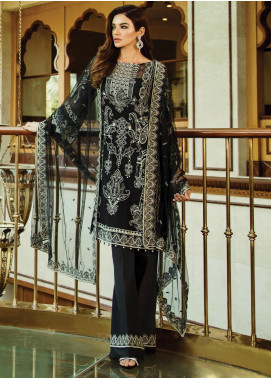 Serene Premium Embroidered Chiffon Unstitched 3 Piece Suit SPM19F 02 Midnight Dream	 - Festive Collection