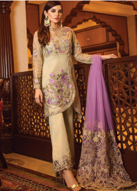Serene Premium Embroidered Organza Unstitched 3 Piece Suit SPM19F 03 Mysterious Enchantress - Festive Collection
