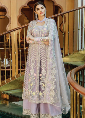 Serene Premium Embroidered Zari Net Unstitched 3 Piece Suit SPM19F 05 Glorious Pearlescent - Festive Collection