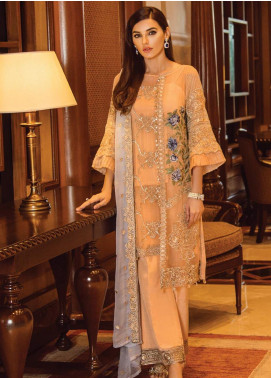 Serene Premium Embroidered Chiffon Unstitched 3 Piece Suit SPM19F 06 Tropical Paradise - Festive Collection