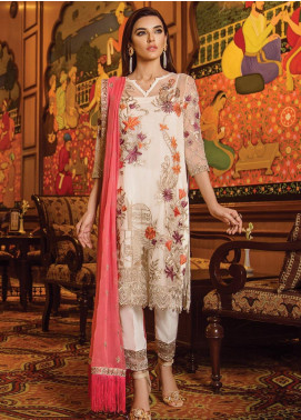 Serene Premium Embroidered Chiffon Unstitched 3 Piece Suit SPM19F 07 Floral tale - Festive Collection