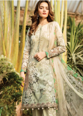 Serene Premium Embroidered Lawn Unstitched 3 Piece Suit SPM19L 16 PEPPERMINT TINT - Spring / Summer Collection