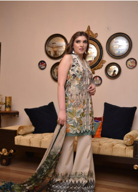 Shiza Hassan Embroidered Lawn Unstitched 3 Piece Suit SH19L 5B FOREST - Spring / Summer Collection