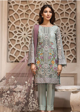 Jazmin Embroidered Chiffon Unstitched 3 Piece Suit JZ19E 2 LARMINA - Eid Collection