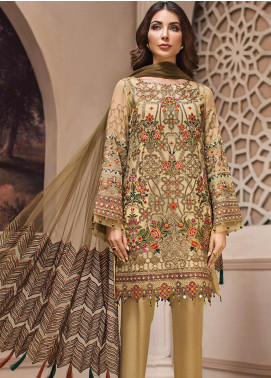 Jazmin Embroidered Chiffon Unstitched 3 Piece Suit JZ19E 3 KASHM - Eid Collection