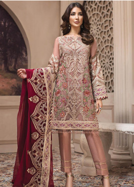 Jazmin Embroidered Chiffon Unstitched 3 Piece Suit JZ19E 5 CYRA - Eid Collection