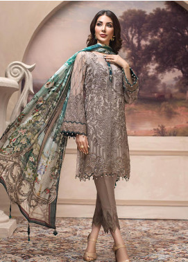 Jazmin Embroidered Chiffon Unstitched 3 Piece Suit JZ19E 8 SHAHWAR - Eid Collection