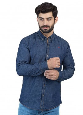 Shahzeb Saeed Denim Casual Shirts for Men - Blue CSW-123