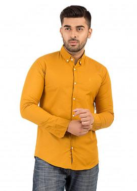 Shahzeb Saeed Cotton Casual Men Shirts - Mustard CSW-131