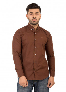 Shahzeb Saeed Cotton Casual Shirts for Men - Brown CSW-136