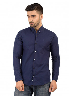 Shahzeb Saeed Cotton Casual Shirts for Men - Blue CSW-140