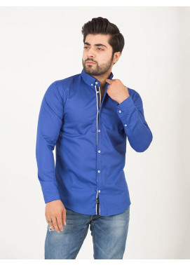 Shahzeb Saeed Cotton Casual Men Shirts - ROYAL BLUE CSW-192