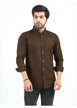 Shahzeb Saeed Cotton Casual Shirts for Men - BROWN CSW-196
